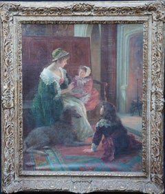 The Goblin Story - British Edwardian exhib art figurative interior oil painting