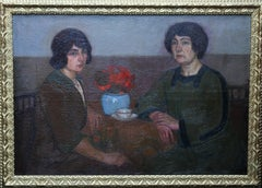 Portrait of Two Women - British 1913 Post Impressionist art exhib. oil painting