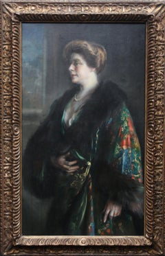 Portrait of a Lady in a Fur Lined Gown - Spanish Edwardian Realist oil painting
