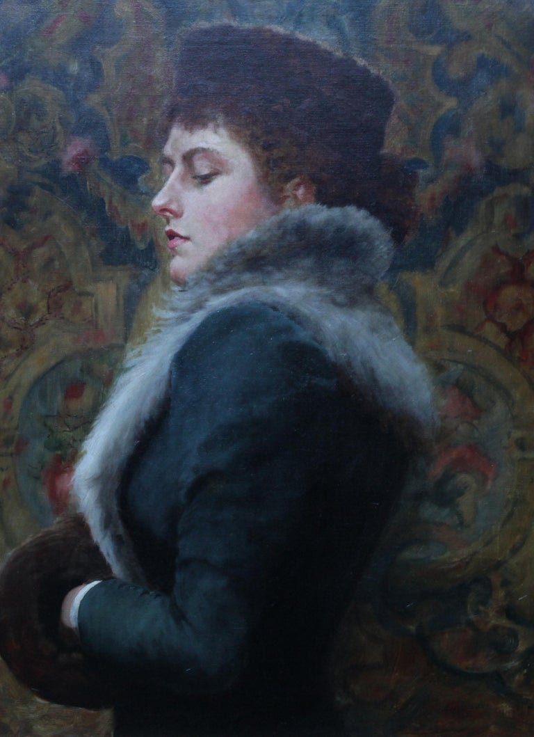 This beautiful and captivating portrait oil painting is by British artist Gerald Edward Wellesley. The portrait dates to the Victorian period, circa 1890 and depicts a bold British post Pre-Raphaelite portrait of Nora H Palairet in a fur trimmed