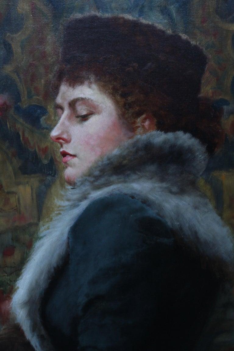 Portrait of Nora Palairet - British Victorian Pre-Raphaelite art oil painting For Sale 1