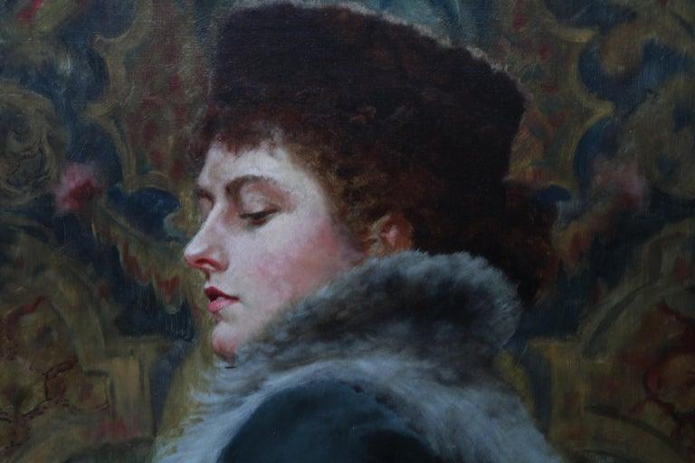 Portrait of Nora Palairet - British Victorian Pre-Raphaelite art oil painting For Sale 2