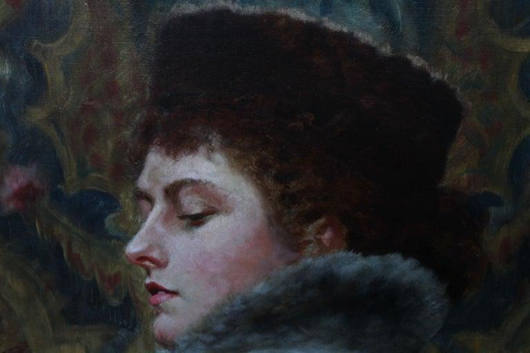 Portrait of Nora Palairet - British Victorian Pre-Raphaelite art oil painting For Sale 3