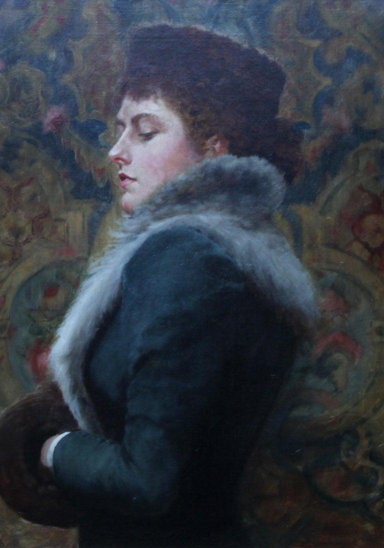Portrait of Nora Palairet - British Victorian Pre-Raphaelite art oil painting For Sale 7