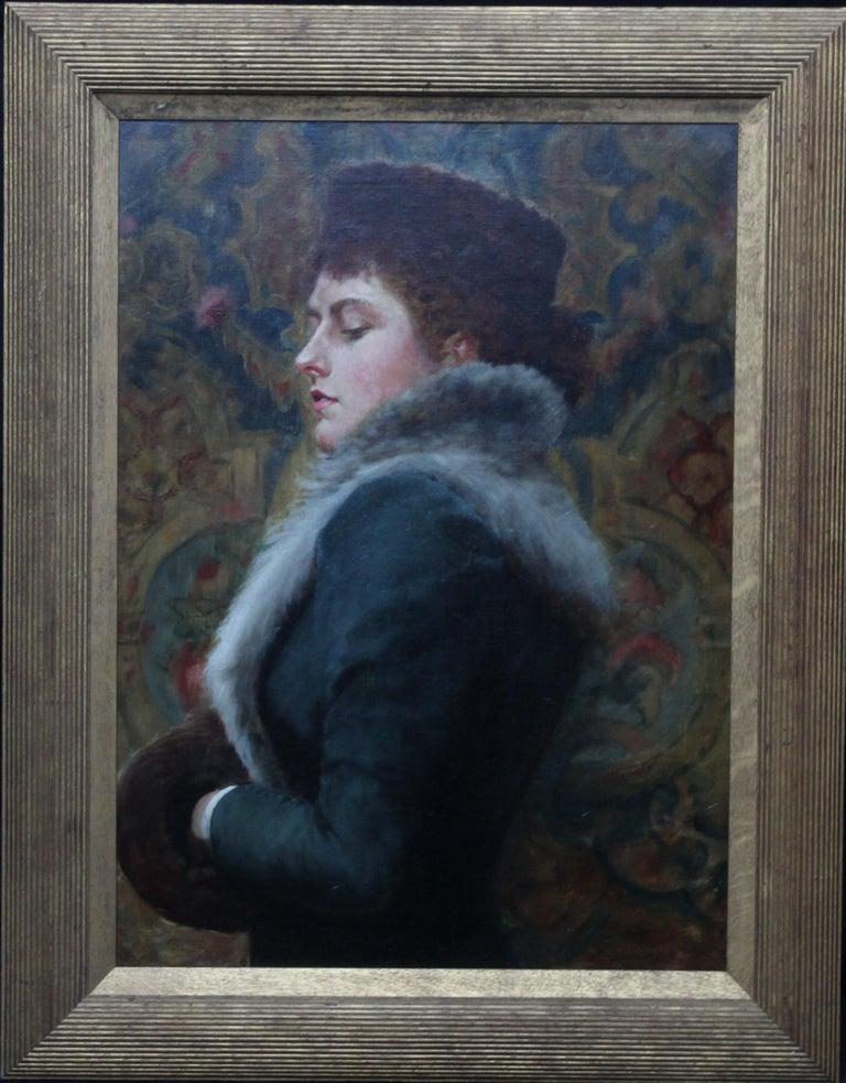 Portrait of Nora Palairet - British Victorian Pre-Raphaelite art oil painting For Sale 8