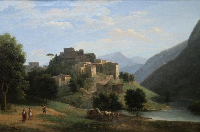 Italian Mountainous River Landscape  - French 19th Century Neo Classical art  - Old Masters Painting by Jean Victor Bertin