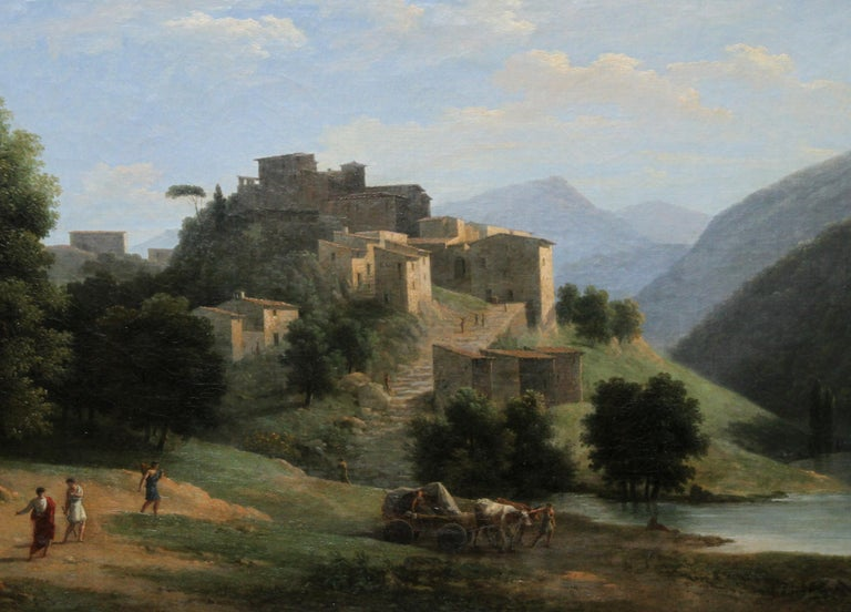 This stunning Neo Classical French 19th century landscape oil painting is by acclaimed French artist Jean Victor Bertin. He was also an early proponent of sketching out doors and direct observation in order to replicate nature later in studio