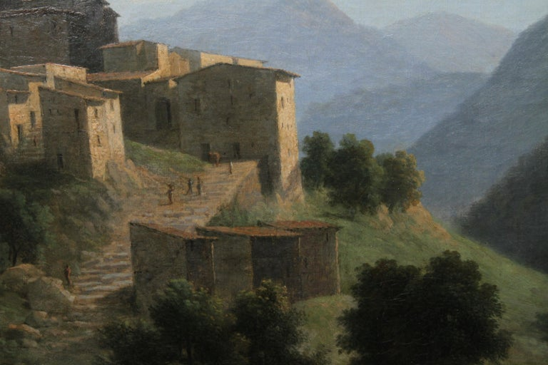 Italian Mountainous River Landscape  - French 19th Century Neo Classical art  For Sale 3