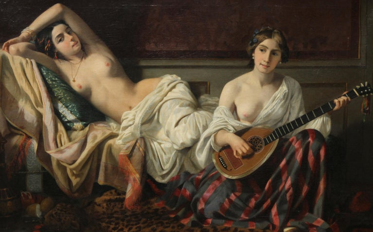 Serenade in the Harem - French 19th Century Orientalist art nude oil painting - Realist Painting by Joseph Caraud