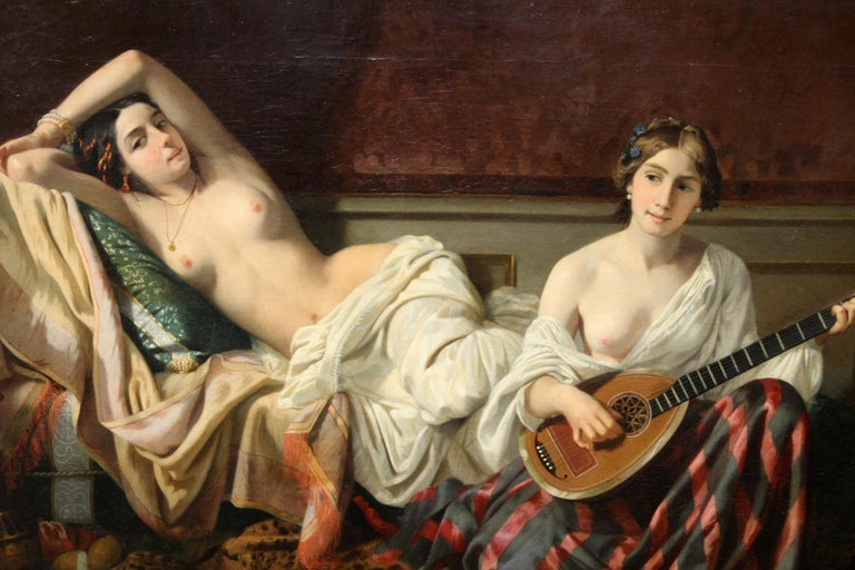 Serenade in the Harem - French 19th Century Orientalist art nude oil painting For Sale 3