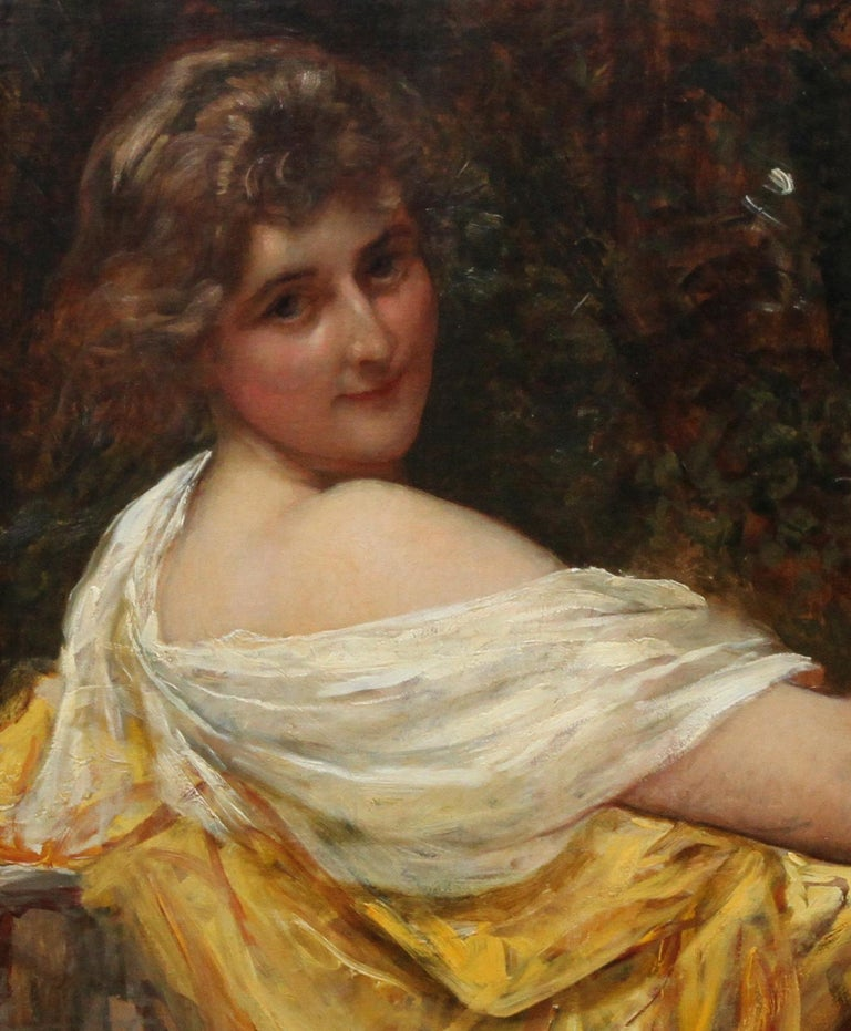 Portrait of a Young Lady in a Yellow Dress - British Victorian art oil painting  - Impressionist Painting by Sir William Blake Richmond