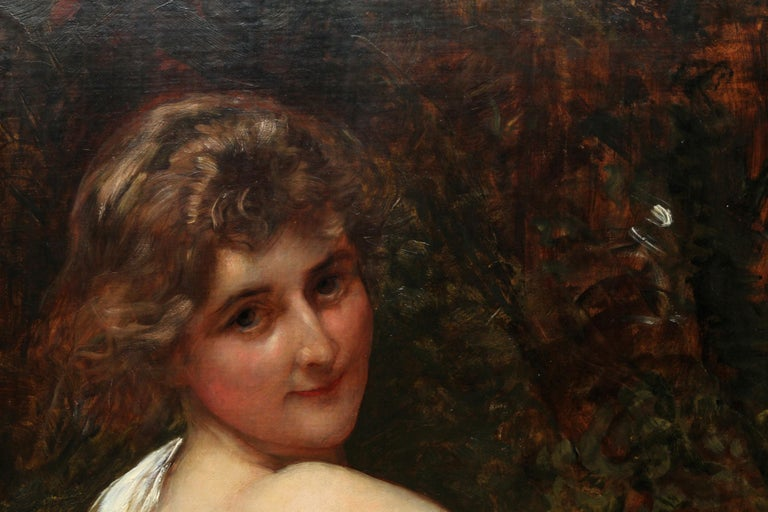 This lovely British Victorian Pre-Raphaelite portrait oil painting is by Royal Academy artist Sir William Blake Richmond. Painted circa 1900 it is a stunning example of his work with a wonderful range of impressionistic tones and vibrant fluid brush