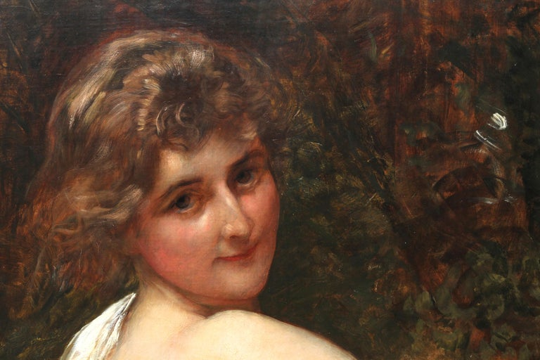 Portrait of a Young Lady in a Yellow Dress - British Victorian art oil painting  For Sale 1