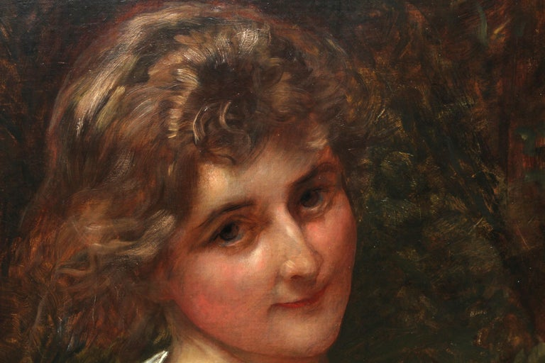 Portrait of a Young Lady in a Yellow Dress - British Victorian art oil painting  For Sale 2