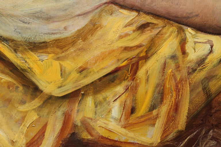 Portrait of a Young Lady in a Yellow Dress - British Victorian art oil painting  For Sale 3