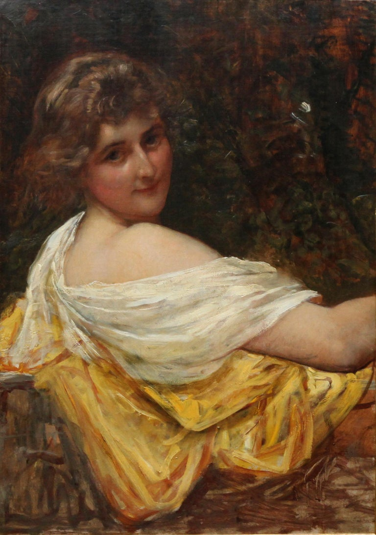 Portrait of a Young Lady in a Yellow Dress - British Victorian art oil painting  For Sale 5