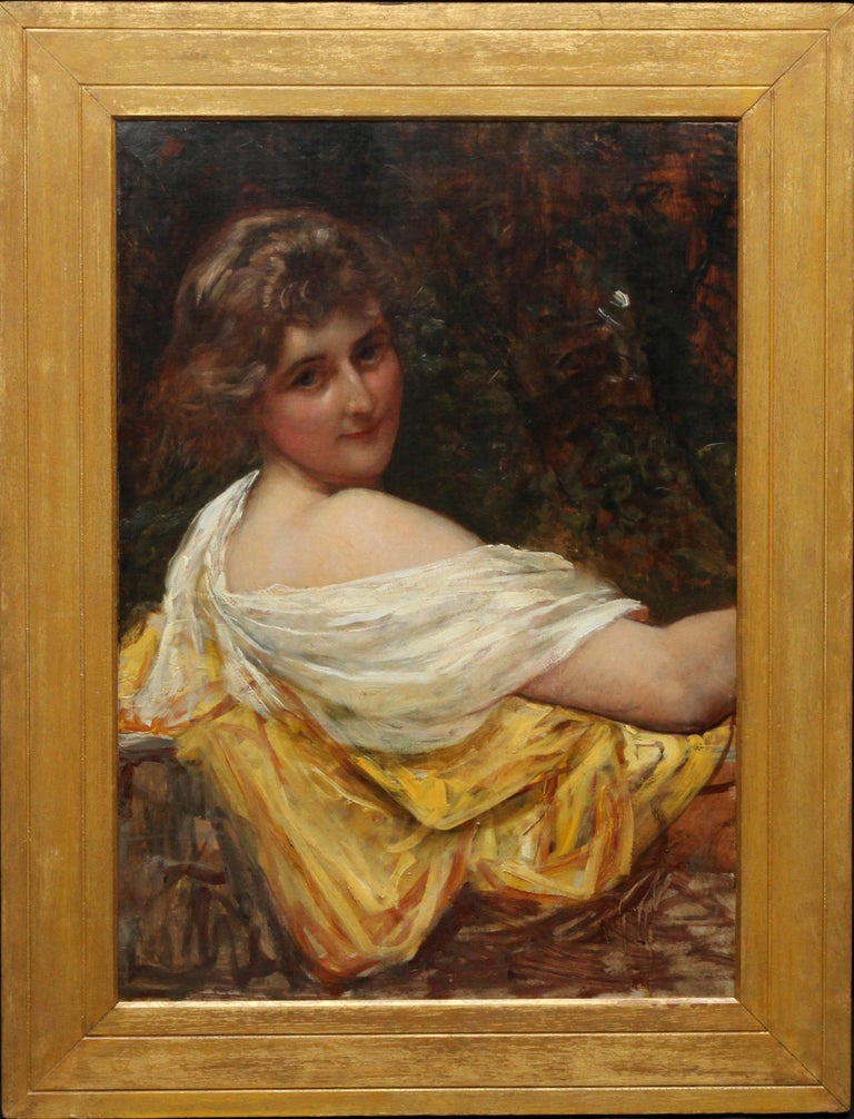 Portrait of a Young Lady in a Yellow Dress - British Victorian art oil painting  For Sale 6