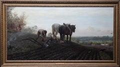 The Plough - British Victorian art horse landscape oil painting 1886 RA exhibit