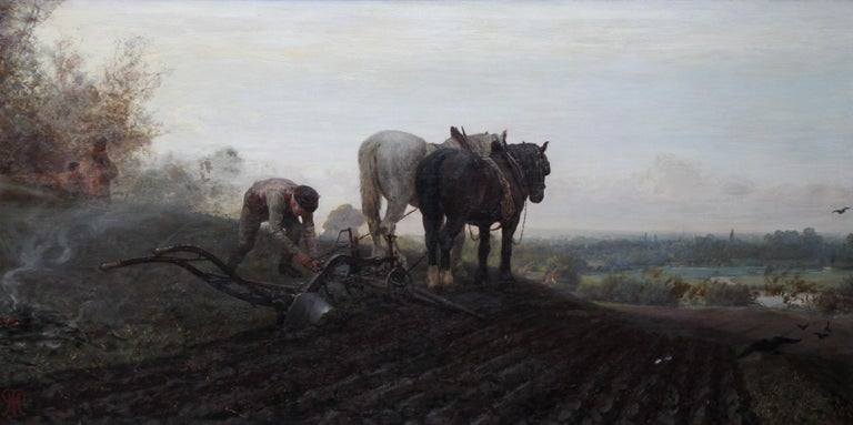 The Plough - British Victorian art horse landscape oil painting 1886 RA exhibit - Painting by Henry Robert Robertson