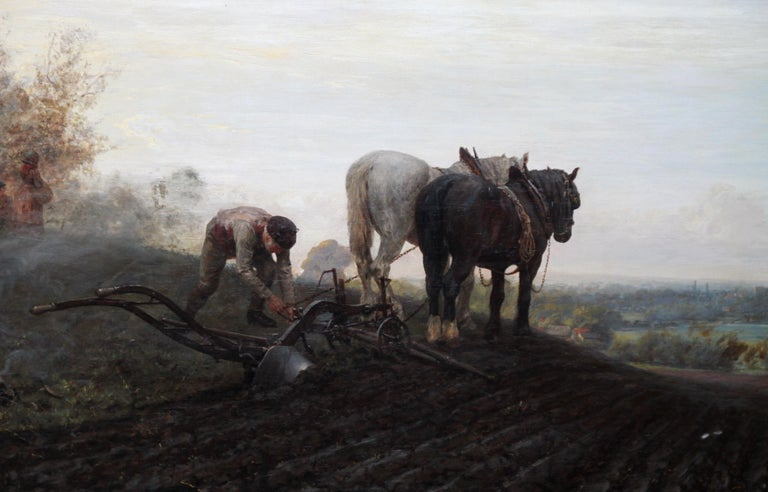 This fabulous large Victorian picturesque and rustic realist landscape oil painting is by noted British prolific artist and exhibitor, Henry Robert Robertson. Painted in 1886 it was exhibited at the Royal Academy London of that year, no 1459,