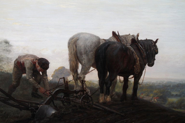 The Plough - British Victorian art horse landscape oil painting 1886 RA exhibit For Sale 1