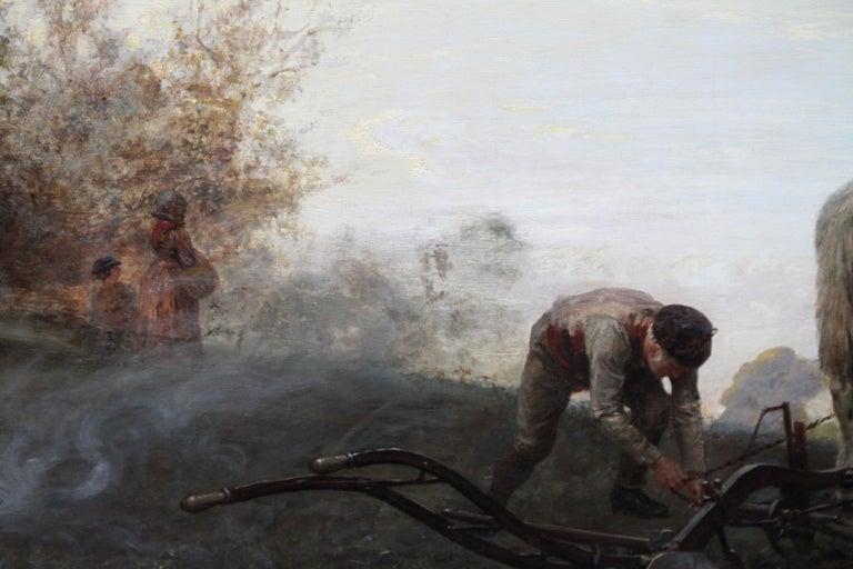 The Plough - British Victorian art horse landscape oil painting 1886 RA exhibit For Sale 2