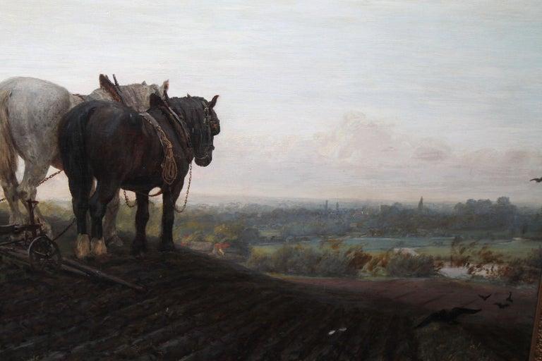The Plough - British Victorian art horse landscape oil painting 1886 RA exhibit For Sale 3