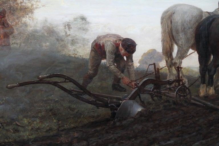 The Plough - British Victorian art horse landscape oil painting 1886 RA exhibit For Sale 5