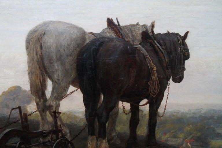 The Plough - British Victorian art horse landscape oil painting 1886 RA exhibit For Sale 7