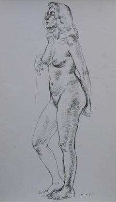 Standing Nude - British 1946 exhibited art female portrait - Royal Academician
