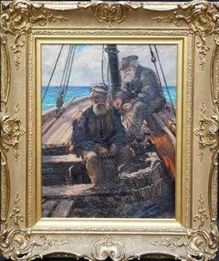 Fishermen Sailors at Sea - Scottish Victorian art marine portrait oil painting