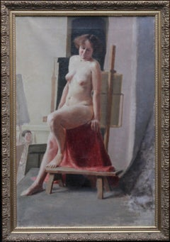 Seated Nude Model in Art Class - British 40's Slade School portrait oil painting