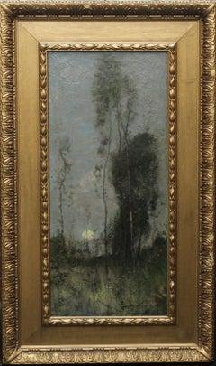 Silver Birches at Sunset- Scottish 19thC art Glasgow Boy landscape oil painting