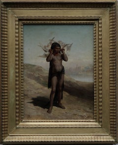 The Egyptian Dove Seller - French Victorian art Orientalist nude oil painting