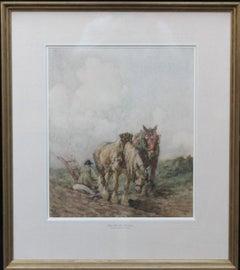 Horses Top of Hill -Scottish 20s Impressionist landscape watercolour equine art