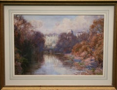 Warwick Castle - British art early 20th century painting river landscape autumn