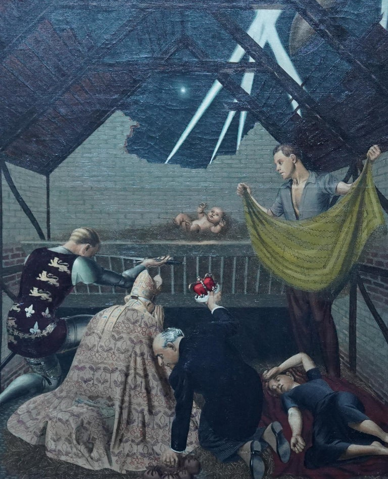 The Blitz Birth - British art c1942 World War II figurative interior oil panting - Surrealist Painting by Louis Duffy (att)