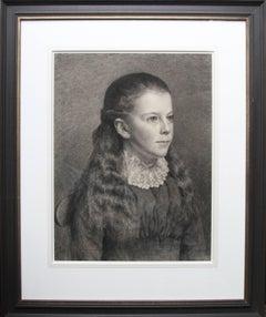 Portrait of Young Girl -Victorian British PreRaphaelite portrait pencil drawing