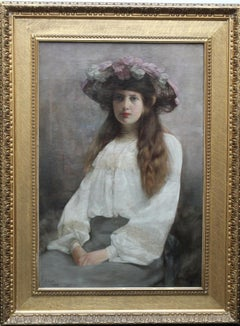 Portrait of a Woman in Floral Hat - British Edwardian art portrait oil painting