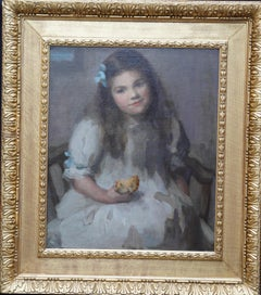 Portrait of Olive Stone with Saffron Bun - British Edwardian art oil painting