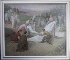 The Entombment - British art 30's oil painting religious landscape Jesus angels