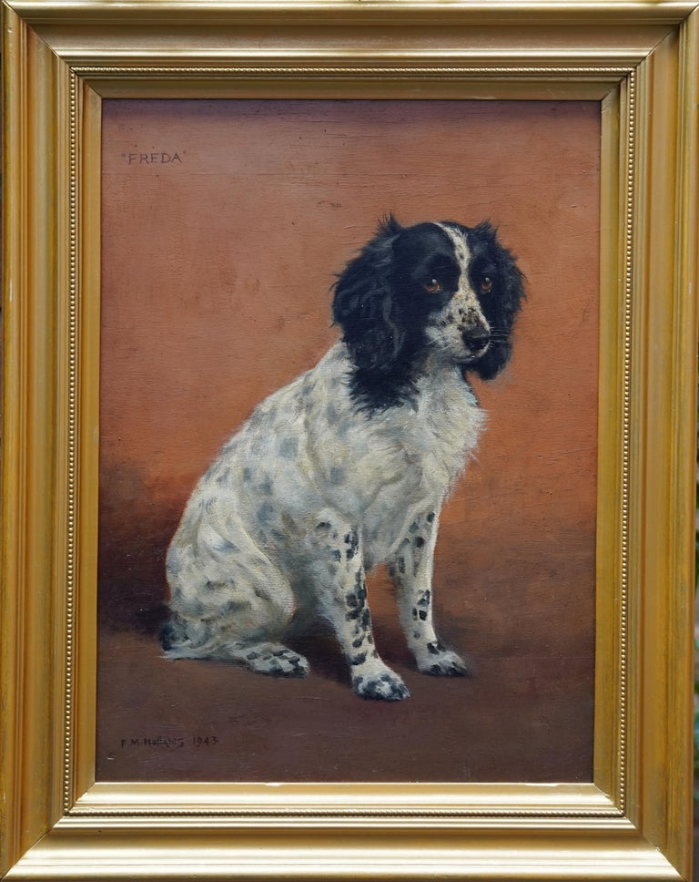 Florence Mabel Hollams Animal Painting - Portrait of Freda the Springer Spaniel - British animal oil painting dog art