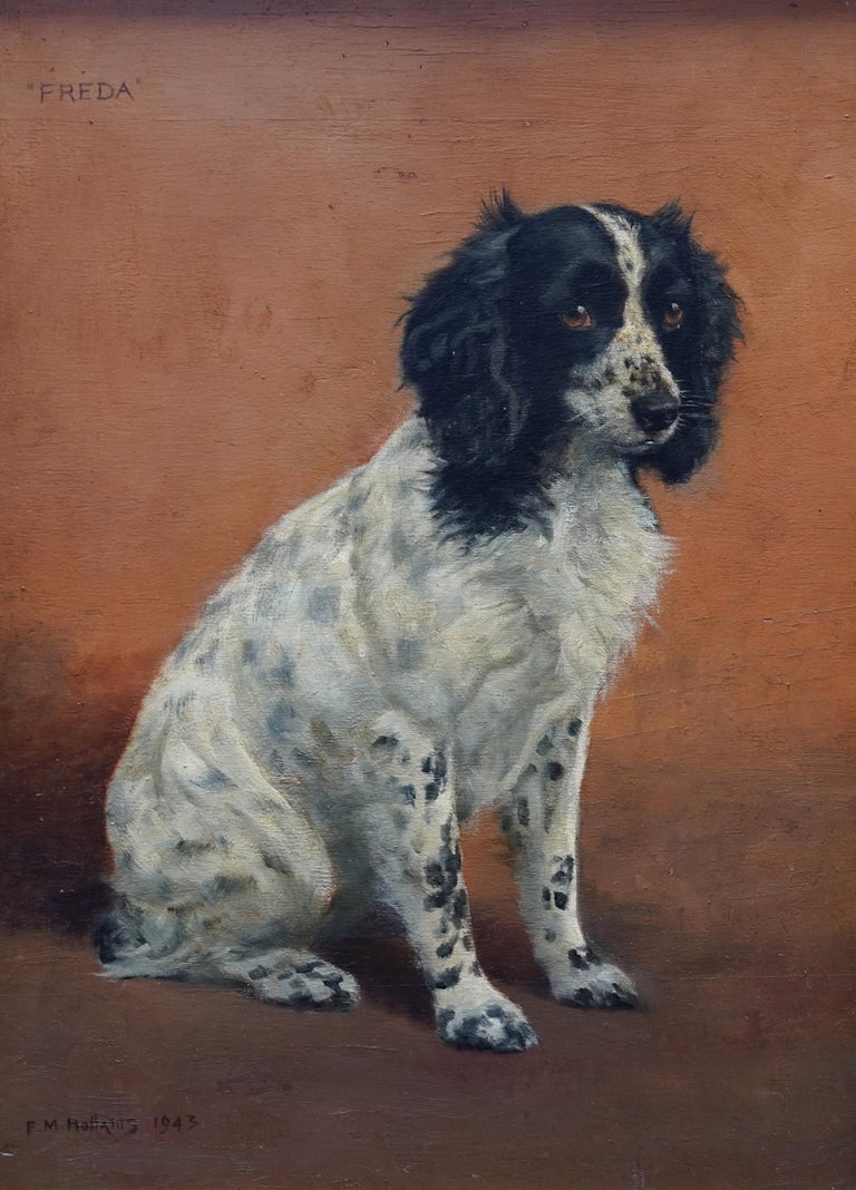 Portrait of Freda the Springer Spaniel - British animal oil painting dog art - Painting by Florence Mabel Hollams
