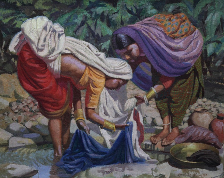 Wash Day - India - British 50's art Post Impressionist portrait oil painting  - Painting by Edward D'Arcy Lister
