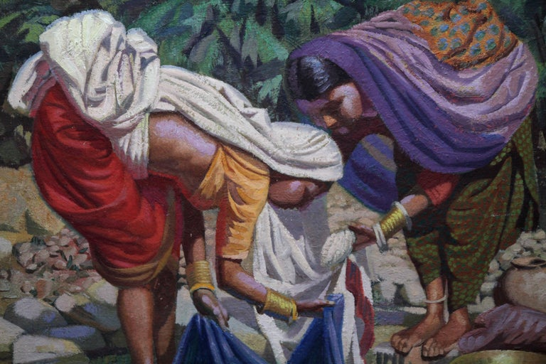 Wash Day - India - British 50's art Post Impressionist portrait oil painting  - Post-Impressionist Painting by Edward D'Arcy Lister
