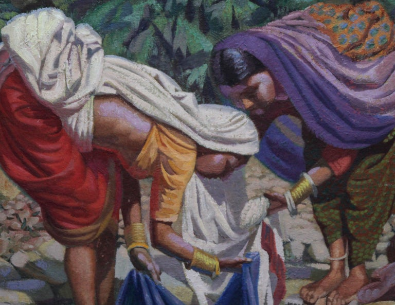 Wash Day - India - British 50's art Post Impressionist portrait oil painting  - Gray Portrait Painting by Edward D'Arcy Lister