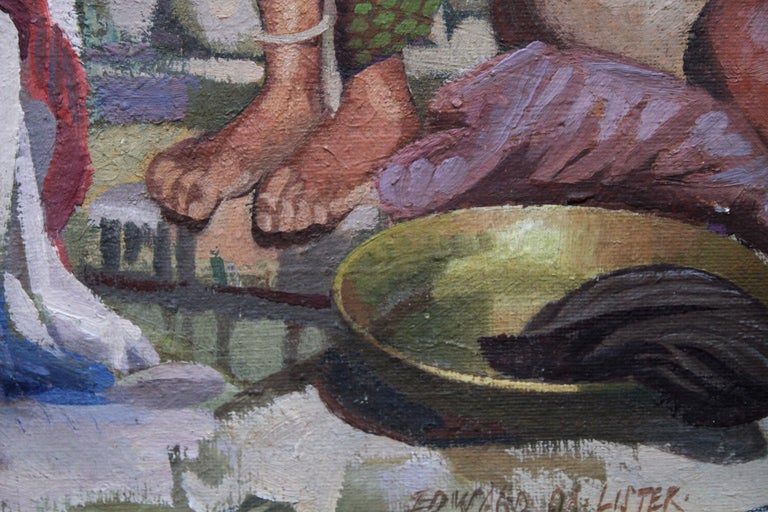 Wash Day - India - British 50's art Post Impressionist portrait oil painting  For Sale 1