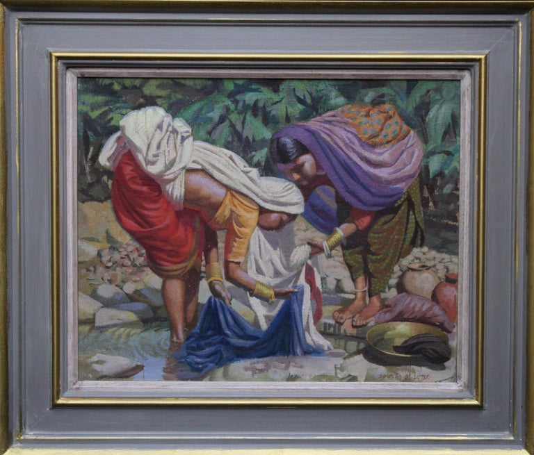 Wash Day - India - British 50's art Post Impressionist portrait oil painting  For Sale 5