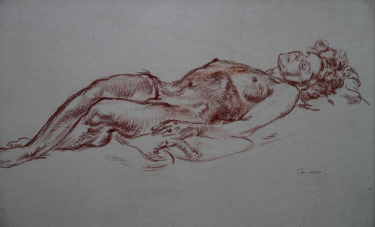 Reclining Nude - British 40's art nude female portrait Royal Academician artist - Art by Christopher Sanders