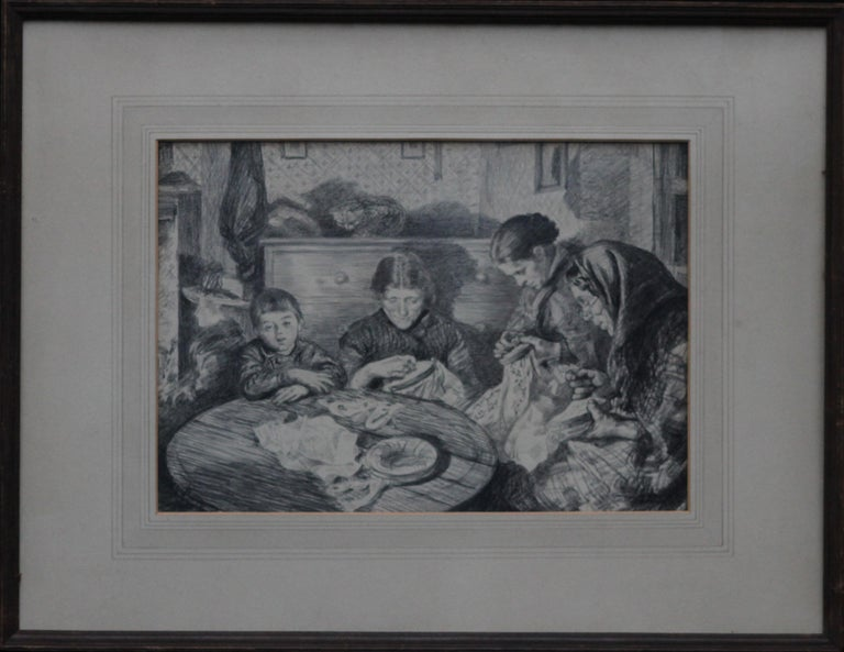 Charles Paul Renouard Interior Art - The Sewing Circle - French 1900 art interior portrait drawing women sewing